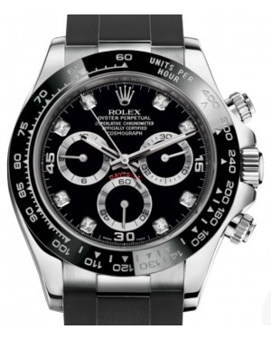 Rolex Daytona White Gold Black Diamond Dial Ceramic Bezel Oysterflex Rubber Bracelet 116519LN - BRAND NEW