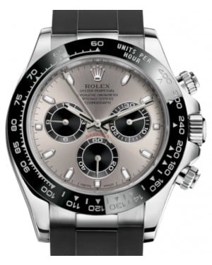 Rolex Daytona White Gold Steel/Black Index Dial Ceramic Bezel Oysterflex Rubber Bracelet 116519LN - BRAND NEW
