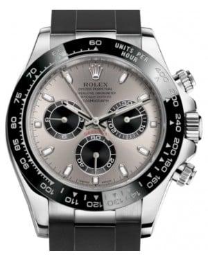 Rolex Daytona White Gold Silver Steel/Black Index Dial Ceramic Bezel Oysterflex Rubber Bracelet 116519LN - BRAND NEW