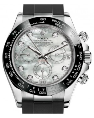 Rolex Daytona White Gold White Mother Of Pearl Diamond Dial Ceramic Bezel Oysterflex Rubber Bracelet 116519LN - BRAND NEW