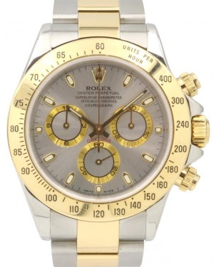 Rolex Daytona 116523 Silver Index 18k Yellow Gold Stainless Steel 40mm BRAND NEW