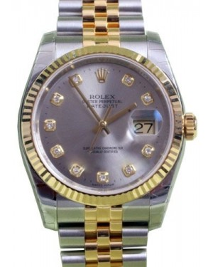 Rolex Datejust 36 116233-GRYDFJ Grey Diamond Fluted Yellow Gold Stainless Steel Jubilee BRAND NEW