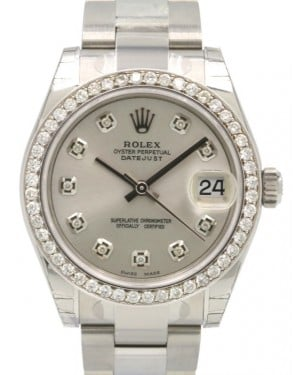 Rolex Datejust 31 Lady Midsize Stainless Steel Silver Diamond Dial & Bezel Oyster Bracelet 178240 - BRAND NEW