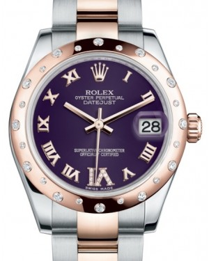 Rolex Datejust 31 Lady Midsize Rose Gold/Steel Purple Roman Diamond VI Dial & Diamond Set Domed Bezel Oyster Bracelet 178341 - BRAND NEW