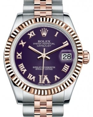Rolex Datejust 31 Lady Midsize Rose Gold/Steel Purple Roman Diamond VI Dial & Fluted Bezel Jubilee Bracelet 178271 - BRAND NEW