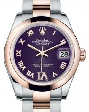 Rolex Datejust 31 Lady Midsize Rose Gold/Steel Purple Roman Diamond VI Dial & Smooth Domed Bezel Oyster Bracelet 178241 - BRAND NEW