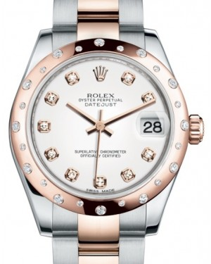 Rolex Datejust 31 Lady Midsize Rose Gold/Steel White Diamond Dial & Diamond Set Domed Bezel Oyster Bracelet 178341 - BRAND NEW