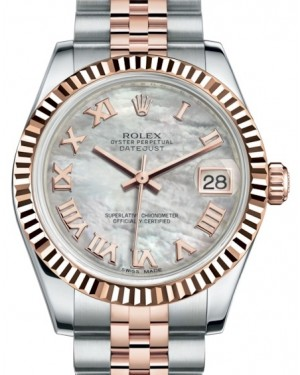 Rolex Datejust 31 Lady Midsize Rose Gold/Steel White Mother of Pearl Roman Dial & Fluted Bezel Jubilee Bracelet 178271 - BRAND NEW