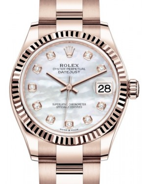 Rolex Datejust 31 Lady Midsize Rose Gold White Mother of Pearl Diamond Dial & Fluted Bezel Oyster Bracelet 278275 - BRAND NEW