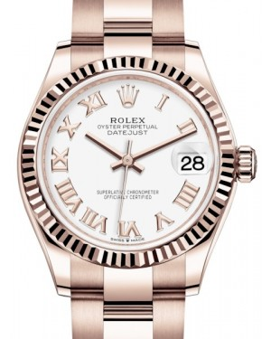 Rolex Datejust 31 Lady Midsize Rose Gold White Roman Dial & Fluted Bezel Oyster Bracelet 278275 - BRAND NEW