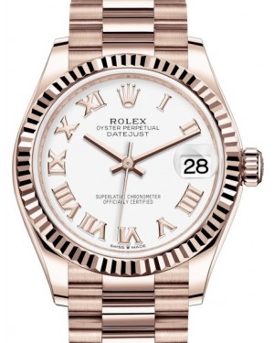 Rolex Datejust 31 Lady Midsize Rose Gold White Roman Dial & Fluted Bezel President Bracelet 278275 - BRAND NEW