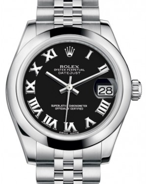 Rolex Datejust 31 Lady Midsize Stainless Steel Black Roman Dial & Smooth Domed Bezel Jubilee Bracelet 178240 - BRAND NEW