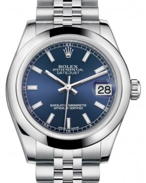 Rolex Datejust 31 Lady Midsize Stainless Steel Blue Index Dial & Smooth Domed Bezel Jubilee Bracelet 178240 - BRAND NEW