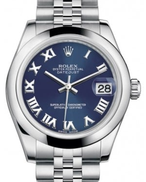 Rolex Datejust 31 Lady Midsize Stainless Steel Blue Roman Dial & Smooth Domed Bezel Jubilee Bracelet 178240 - BRAND NEW