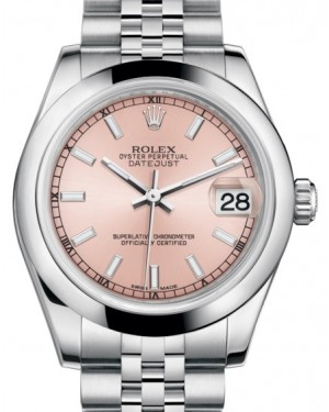 Rolex Datejust 31 Lady Midsize Stainless Steel Pink Index Dial & Smooth Domed Bezel Jubilee Bracelet 178240 - BRAND NEW