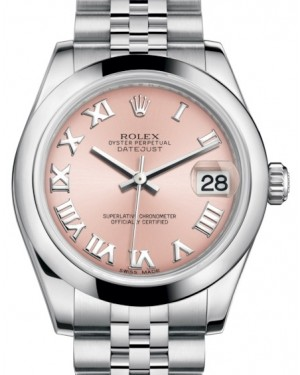 Rolex Datejust 31 Lady Midsize Stainless Steel Pink Roman Dial & Smooth Domed Bezel Jubilee Bracelet 178240 - BRAND NEW