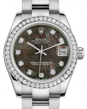Rolex Datejust 31 Lady Midsize White Gold/Steel Black Mother of Pearl Diamond Dial & Diamond Bezel Oyster Bracelet 178384 - BRAND NEW