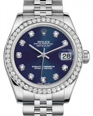 Rolex Datejust 31 Lady Midsize White Gold/Steel Blue Diamond Dial & Diamond Bezel Jubilee Bracelet 178384 - BRAND NEW