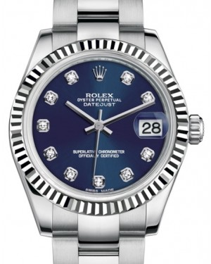 Rolex Datejust 31 Lady Midsize White Gold/Steel Blue Diamond Dial & Fluted Bezel Oyster Bracelet 178274 - BRAND NEW