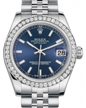 Rolex Datejust 31 Lady Midsize White Gold/Steel Blue Index Dial & Diamond Bezel Jubilee Bracelet 178384 - BRAND NEW
