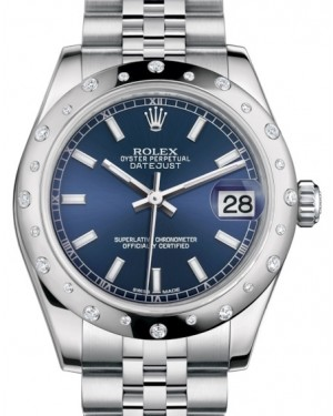 Rolex Datejust 31 Lady Midsize White Gold/Steel Blue Index Dial & Diamond Set Domed Bezel Jubilee Bracelet 178344 - BRAND NEW