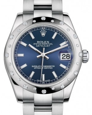 Rolex Datejust 31 Lady Midsize White Gold/Steel Blue Index Dial & Diamond Set Domed Bezel Oyster Bracelet 178344 - BRAND NEW