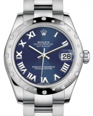 Rolex Datejust 31 Lady Midsize White Gold/Steel Blue Roman Dial & Diamond Set Domed Bezel Oyster Bracelet 178344 - BRAND NEW