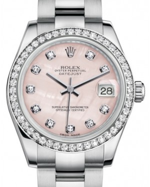 Rolex Datejust 31 Lady Midsize White Gold/Steel Pink Mother of Pearl Diamond Dial & Diamond Bezel Oyster Bracelet 178384 - BRAND NEW