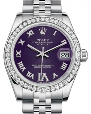 Rolex Datejust 31 Lady Midsize White Gold/Steel Purple Roman Diamond VI Dial & Diamond Bezel Jubilee Bracelet 178384 - BRAND NEW