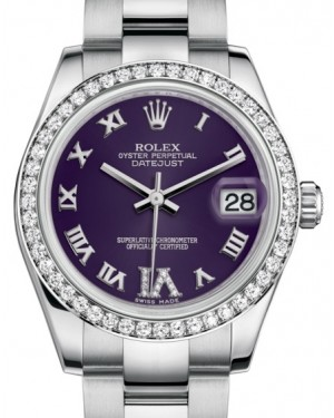 Rolex Datejust 31 Lady Midsize White Gold/Steel Purple Roman Diamond VI Dial & Diamond Bezel Oyster Bracelet 178384 - BRAND NEW