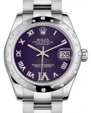 Rolex Datejust 31 Lady Midsize White Gold/Steel Purple Roman Diamond VI Dial & Diamond Set Domed Bezel Oyster Bracelet 178344 - BRAND NEW