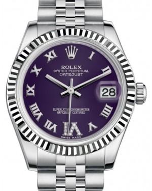 Rolex Datejust 31 Lady Midsize White Gold/Steel Purple Roman Diamond VI Dial & Fluted Bezel Jubilee Bracelet 178274 - BRAND NEW
