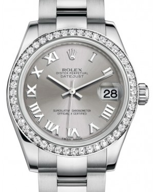 Rolex Datejust 31 Lady Midsize White Gold/Steel Rhodium Roman Dial & Diamond Bezel Oyster Bracelet 178384 - BRAND NEW