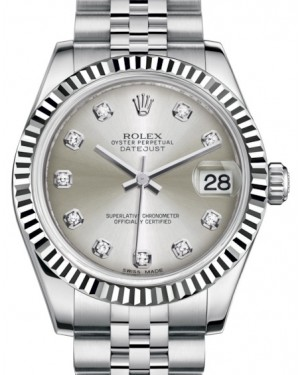 Rolex Datejust 31 Lady Midsize White Gold/Steel Silver Diamond Dial & Fluted Bezel Jubilee Bracelet 178274 - BRAND NEW
