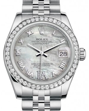 Rolex Datejust 31 Lady Midsize White Gold/Steel White Mother of Pearl Roman Diamond VI Dial & Diamond Bezel Jubilee Bracelet 178384 - BRAND NEW