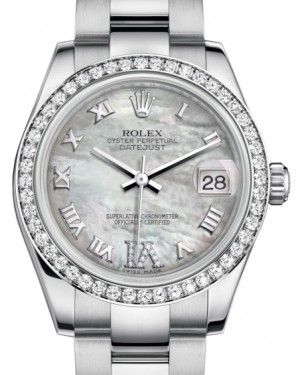 Rolex Datejust 31 Lady Midsize White Gold/Steel White Mother of Pearl Roman Diamond VI Dial & Diamond Bezel Oyster Bracelet 178384 - BRAND NEW