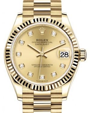 Rolex Datejust 31 Lady Midsize Yellow Gold Champagne Diamond Dial & Fluted Bezel President Bracelet 278278 - BRAND NEW