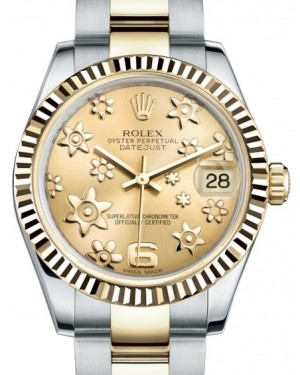 Rolex Datejust 31 Lady Midsize Yellow Gold/Steel Champagne Floral Motif Arabic Dial & Fluted Bezel Oyster Bracelet 178273 - BRAND NEW