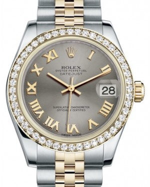 Rolex Datejust 31 Lady Midsize Yellow Gold/Steel Steel Roman Dial & Diamond Bezel Jubilee Bracelet 178383 - BRAND NEW