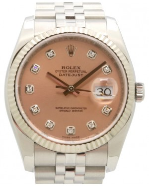 Rolex Datejust 36 White Gold/Steel Pink Diamond Dial & Fluted Bezel Jubilee Bracelet 116234 - PRE-OWNED