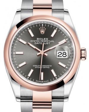 Rolex Datejust 36 Rose Gold/Steel Dark Rhodium Index Dial & Domed Bezel Oyster Bracelet 126201 - BRAND NEW