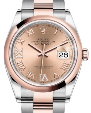 Rolex Datejust 36 Rose Gold/Steel Rose Roman Diamond VI Dial & Domed Bezel Oyster Bracelet 126201 - BRAND NEW