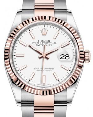 Rolex Datejust 36 Rose Gold/Steel White Index Dial & Fluted Bezel Oyster Bracelet 126231 - BRAND NEW