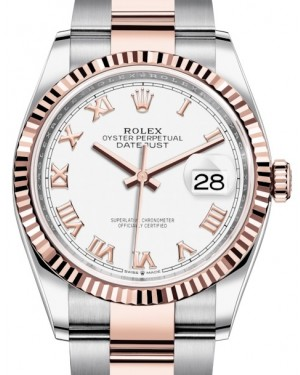 Rolex Datejust 36 Rose Gold/Steel White Roman Dial & Fluted Bezel Oyster Bracelet 126231 - BRAND NEW