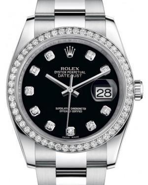 Rolex Datejust 36 White Gold/Steel Black Diamond Dial & Diamond Bezel Oyster Bracelet 116244 - BRAND NEW