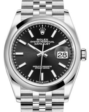 Rolex Datejust 36 Stainless Steel Black Index Dial & Smooth Domed Bezel Jubilee Bracelet 126200 - BRAND NEW