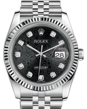Rolex Datejust 36 White Gold/Steel Black Jubilee Diamond Dial & Fluted Bezel Jubilee Bracelet 116234 - BRAND NEW