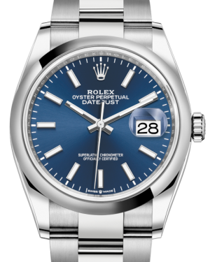 Rolex Datejust 36 Stainless Steel Blue Index Dial & Smooth Domed Bezel Oyster Bracelet 126200 - BRAND NEW