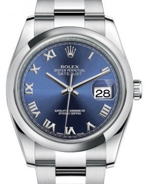 Rolex Datejust 36 Stainless Steel Blue Roman Dial Smooth Domed Bezel Oyster Bracelet 116200 - PRE - OWNED