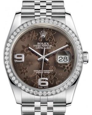 Rolex Datejust 36 White Gold/Steel Bronze Floral Motif Arabic Dial & Diamond Bezel Jubilee Bracelet 116244 - BRAND NEW